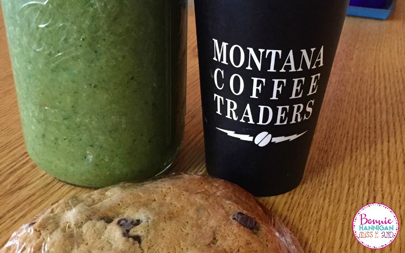 Voting Day, But First, A Big Coffee, A Big Green Drink And An Even BIGGER Cookie!